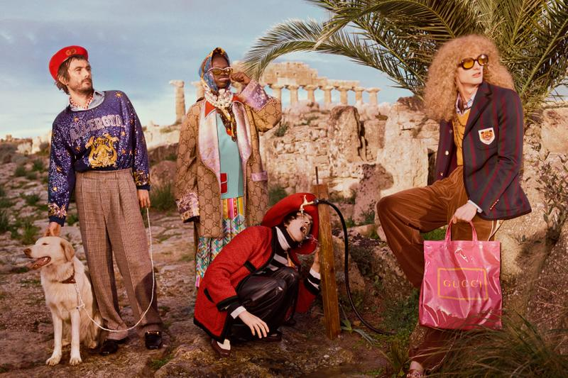Gucci Pre Fall 2019 Campaign Collection Top Purple Logo Jacket Brown Blazer Red Maroon Green Tote Pink