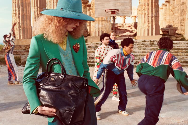 Gucci Pre Fall 2019 Campaign Collection Hat Sweater Blue Blazer Green Logo Leather Jacket White Navy