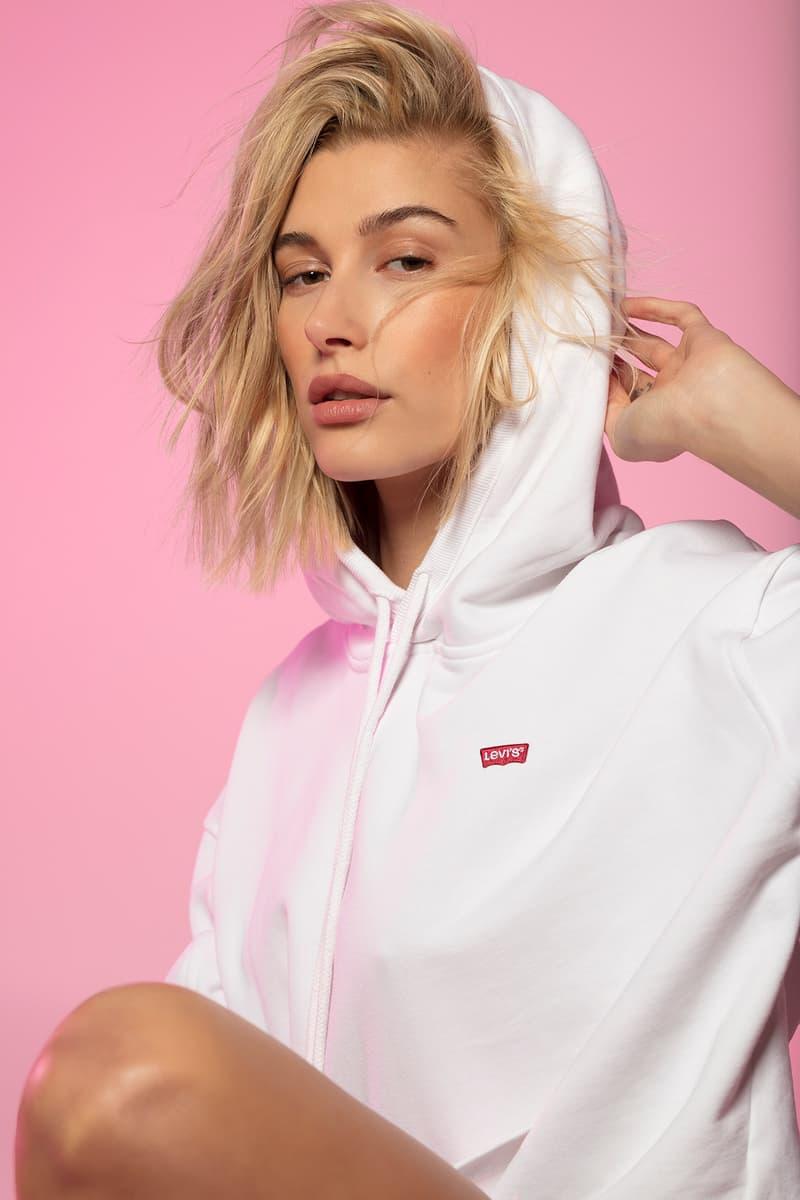 Hailey Baldwin Bieber Levi's 501 White Hoodie Logo