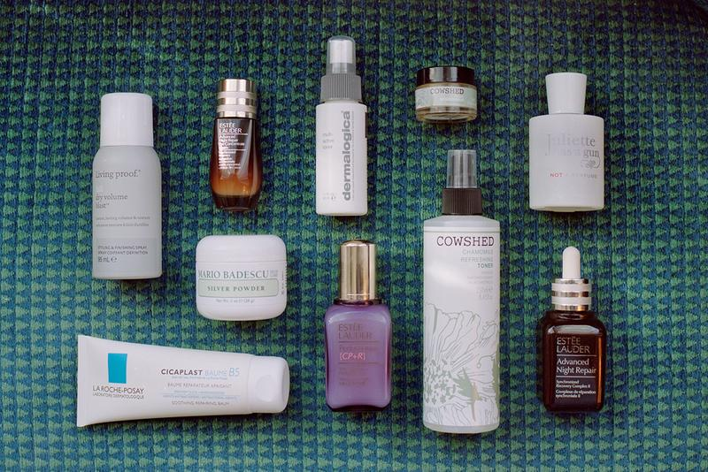 Makeup Skincare Cosmetics Haircare Products Estee Lauder Serum Living Proof Hair Volume Spray Cowshed Balm Mario Badescu Flat Lay Lifestyle Danielle Cathari