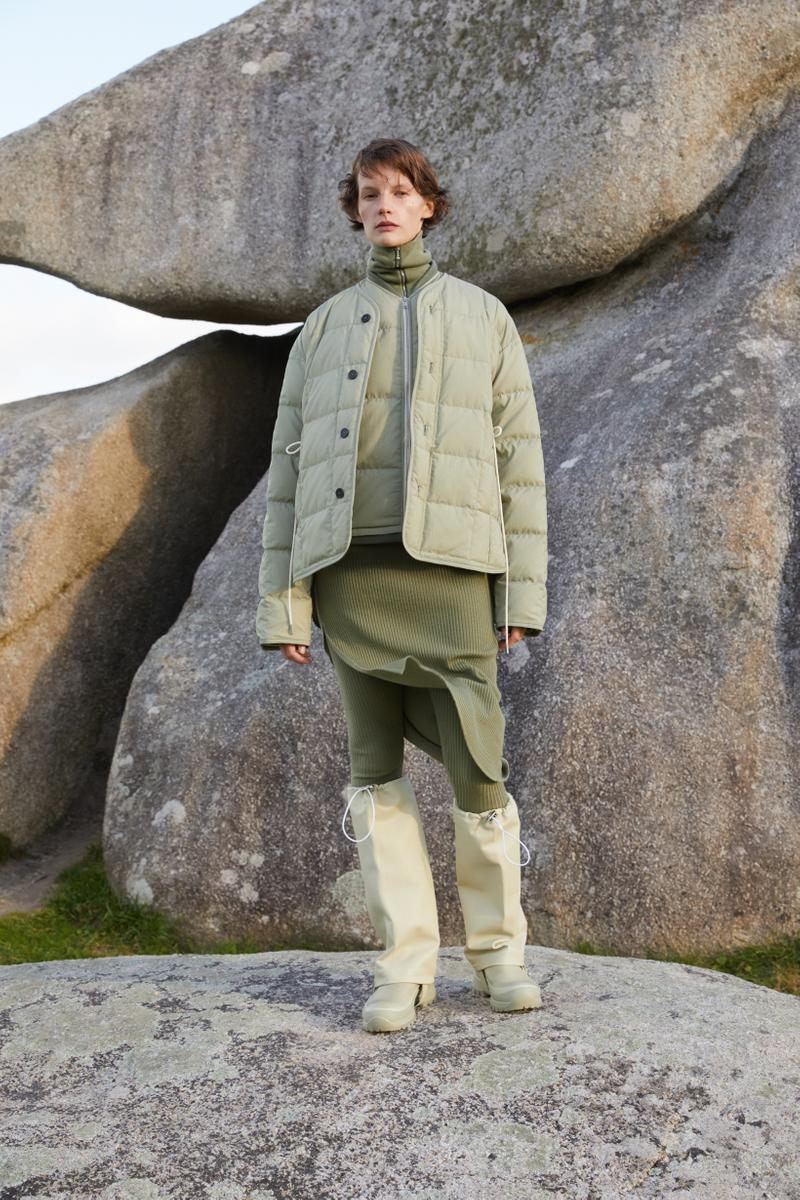 Jil Sander Plus Fall Winter 2019 Collection Jacket Skirt Green Boots Cream