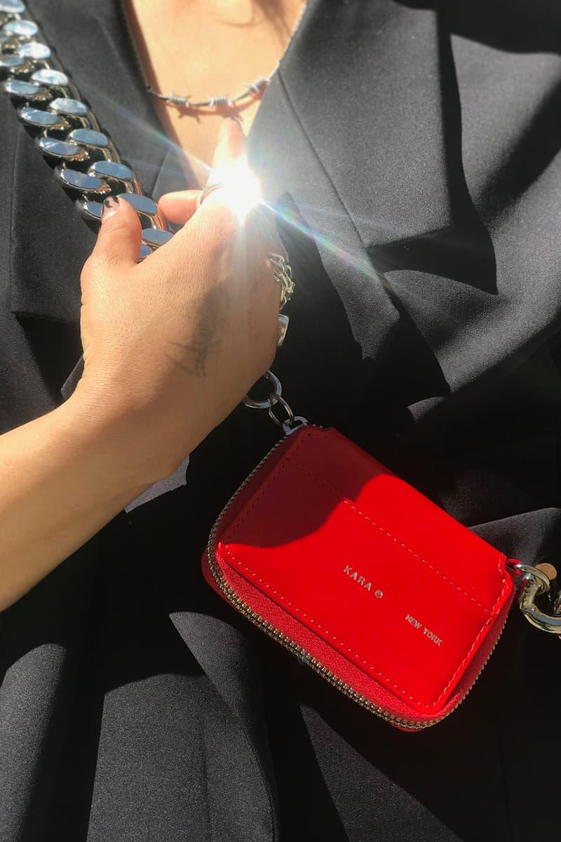 kara bike wallet white red black leather statement accessory new york city chain