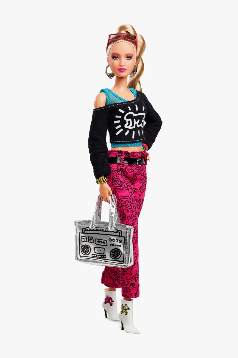 Keith Haring x Barbie Doll Top Black Pants Pink Bag Silver