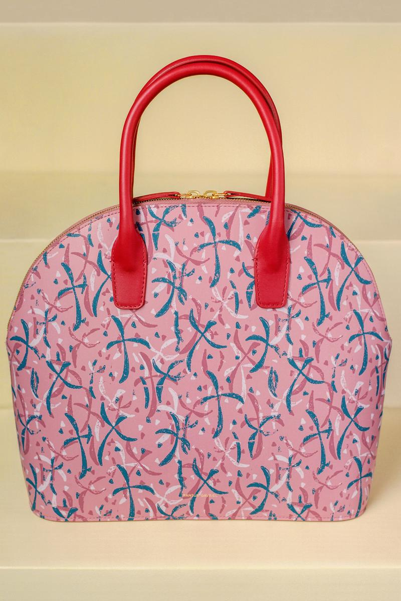 Marc Camille Chaimowicz x Mansur Gavriel Spring Summer 2019 Collection Top Handle Rounded Bag Pink Red