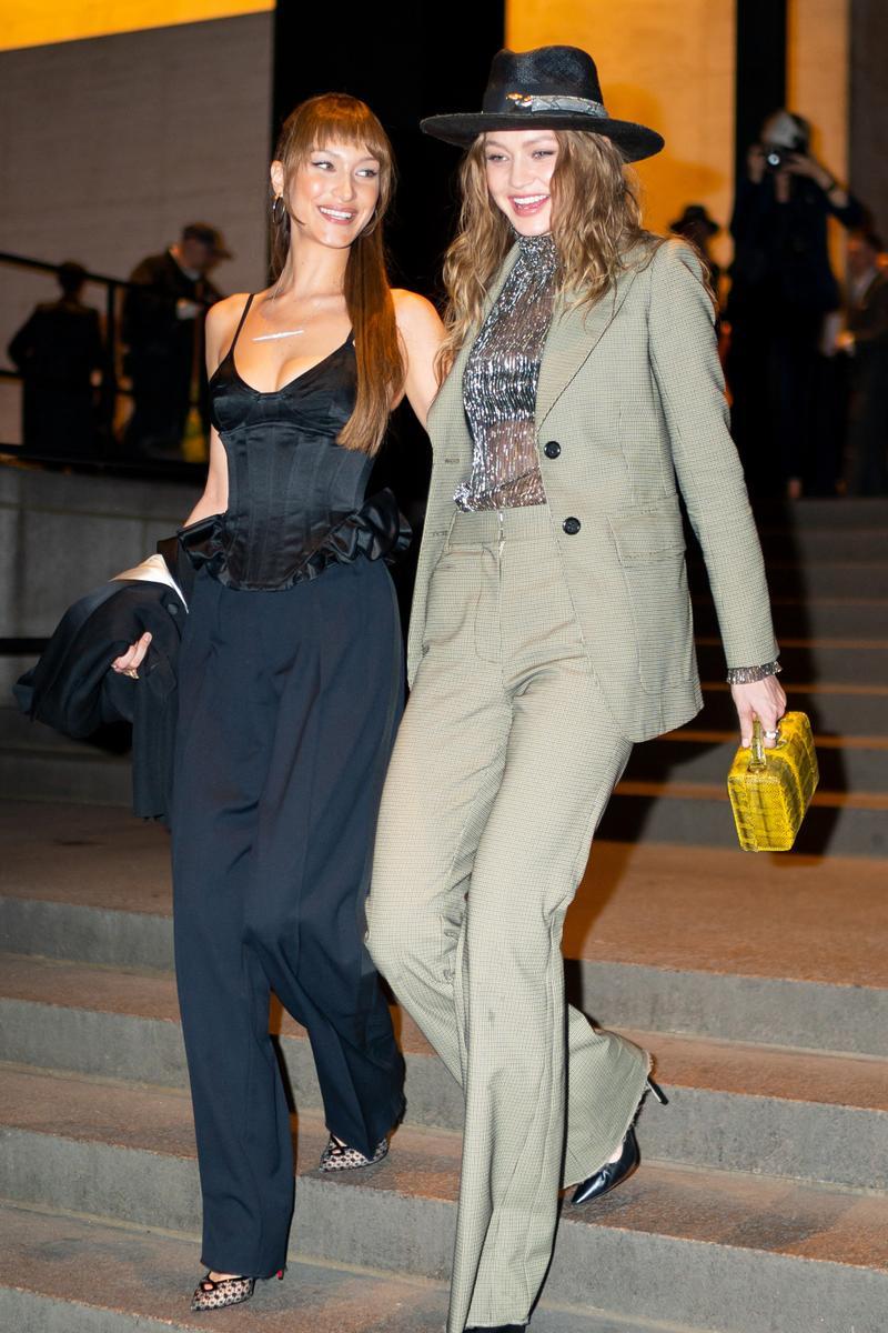 Bella Gigi Hadid Supermodels Models Sisters Marc Jacobs Char Defrancesco Wedding New York City Fashion Celebrity Style Looks Hat Suit Sheer Blazer Bustier