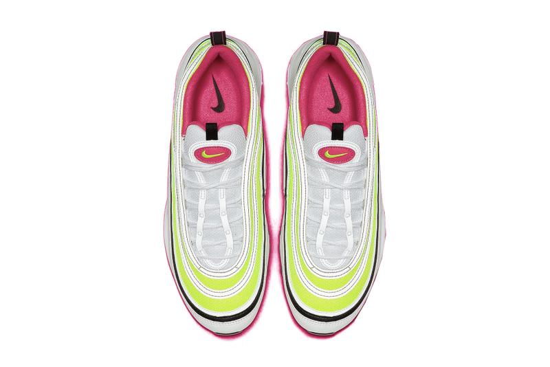"""Nike Air Max 97 """"Rush Pink/Volt"""" Neon Sneaker Shoe Release Spring Summer Shoe"""