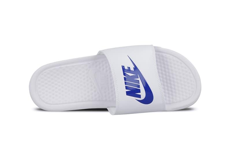 Nike Benassi Slides White Varsity Royal