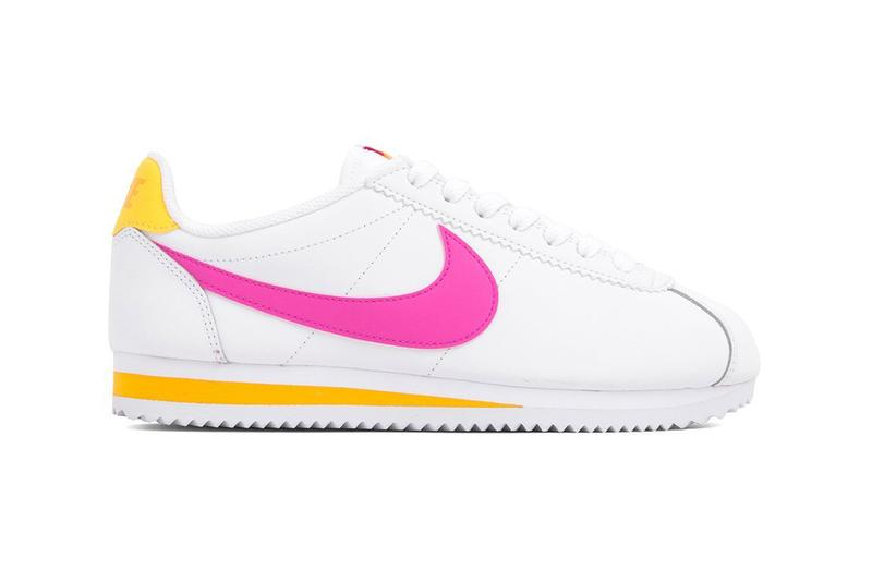 new styles 9954a 94025 Nike Classic Cortez Laser Fuchsia Pink Orange White Leather Trainers  Sneakers