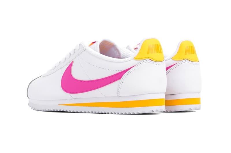 Nike Classic Cortez Laser Fuchsia Pink Orange White Leather Trainers Sneakers