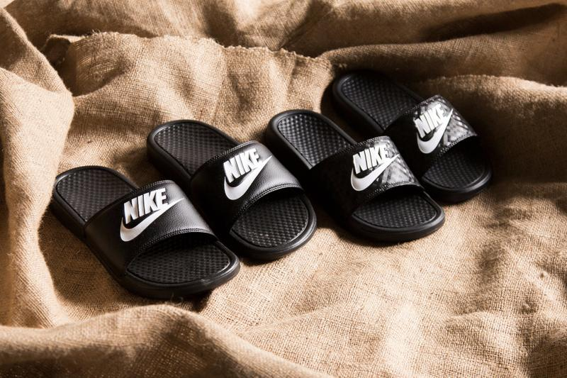 Nike Benassi Logo Slides Sandals Swoosh Print Texture Spring Summer Shoe Sporty Fashion Athleisure