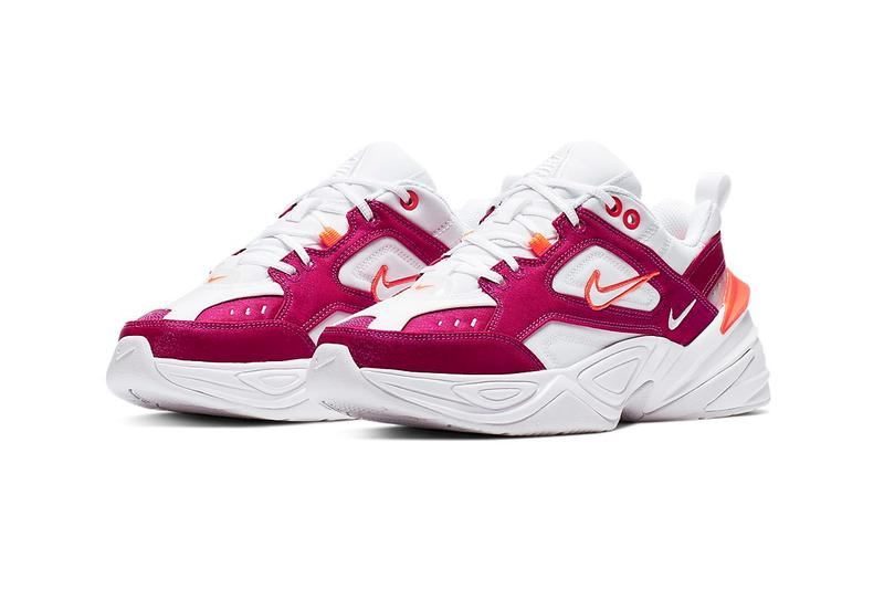 Nike M2K Tekno Hyper Crimson Orange White Canvas Denim Chunky Sneakers Trainers