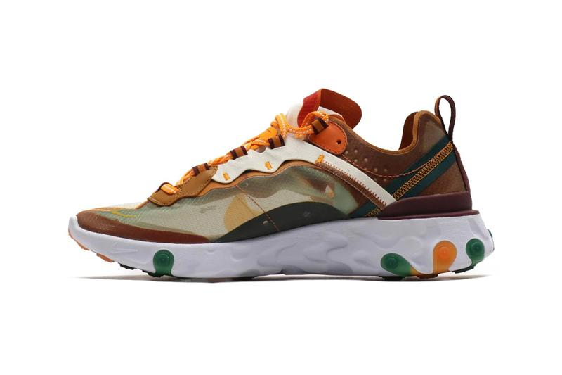 "Nike React Element 87 ""Orange Peel"" ""Red Orbit"" Sneaker Release Shoe Translucent Upper Texture Sporty Orange Pink Blue White Green Spring Summer"
