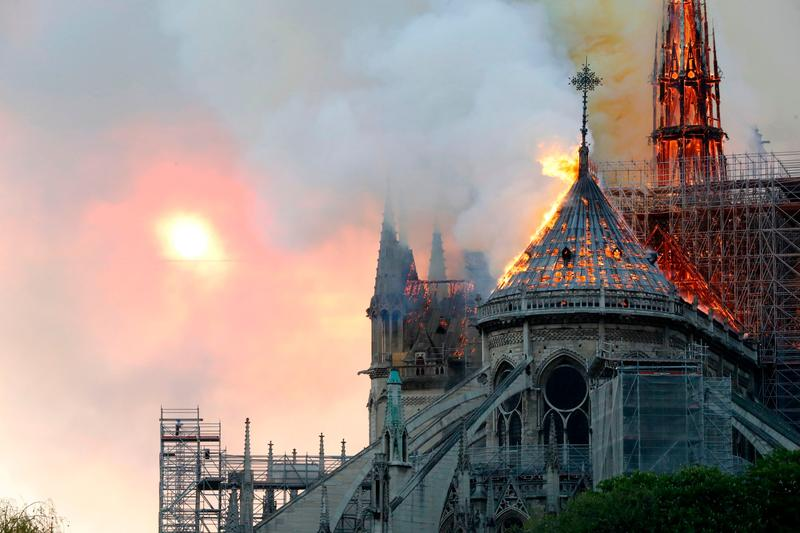 Notre Dame Cathedral Fire Paris France April 15 2019 Spire Collapse Church Catholic Landmark Symbol Construction Renovation