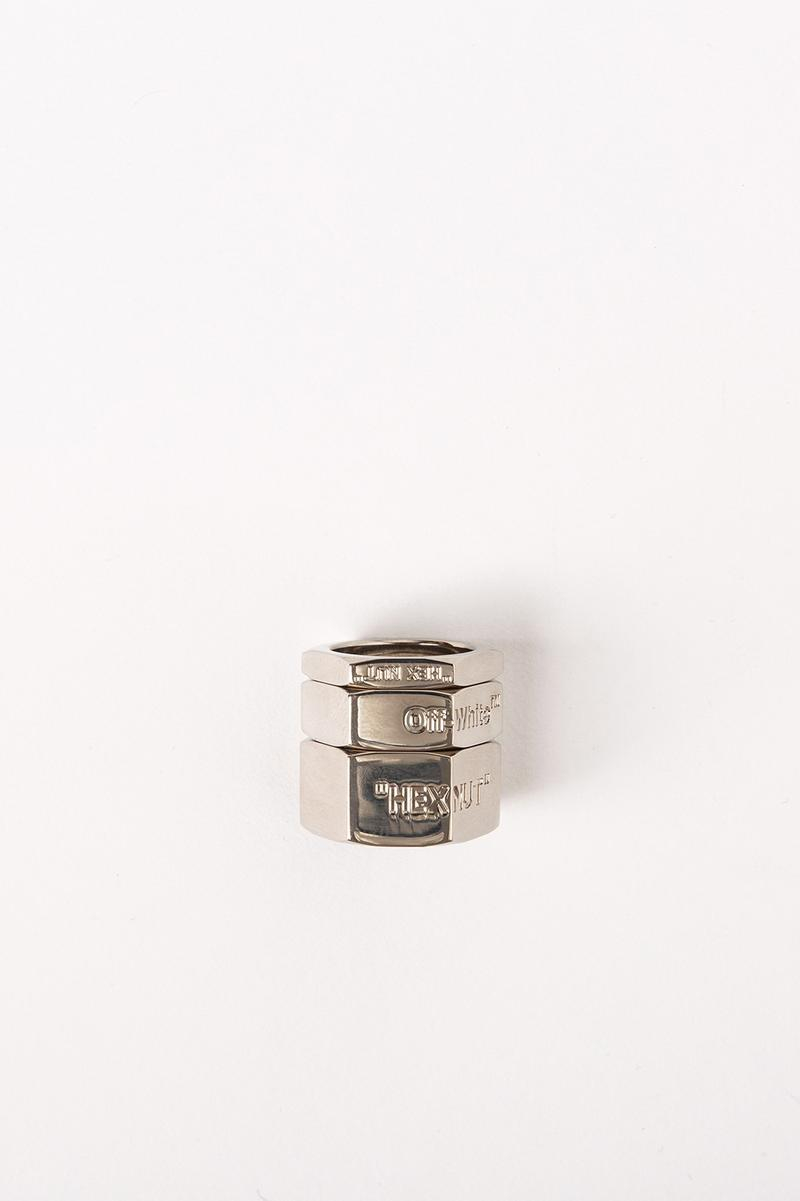 Off White Jewelry Collection Logo Rings Silver