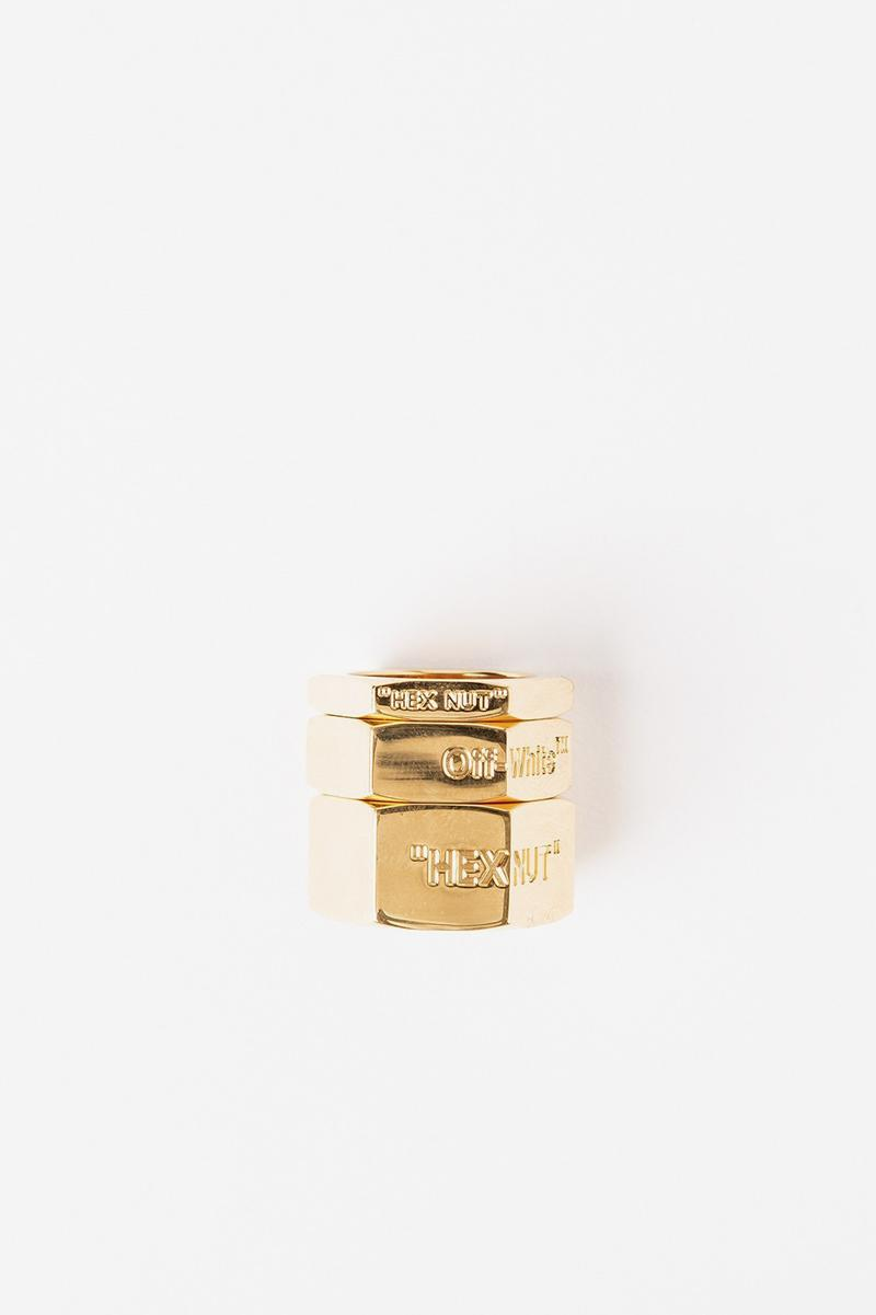 Off White Jewelry Collection Logo Rings Gold