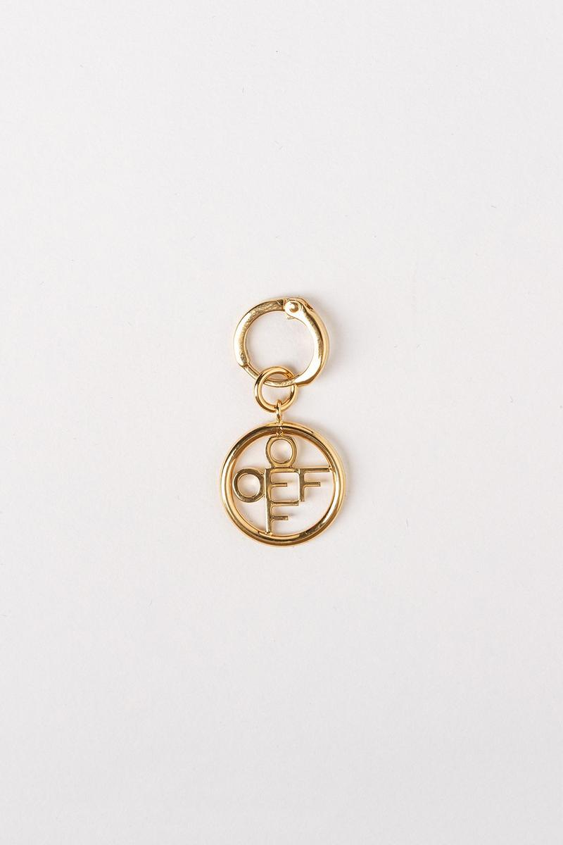 Off White Jewelry Collection Logo Keychain Gold