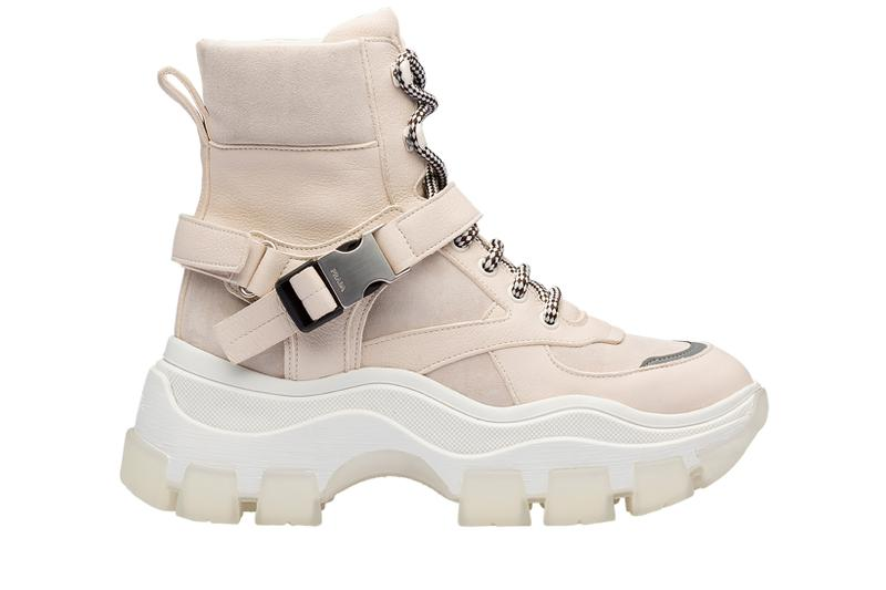 Prada Platform High Top Sneaker Cream