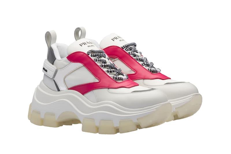 Prada Platform Sneaker White Pink