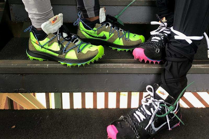 Off White x Nike Sneakers Pink Black Green