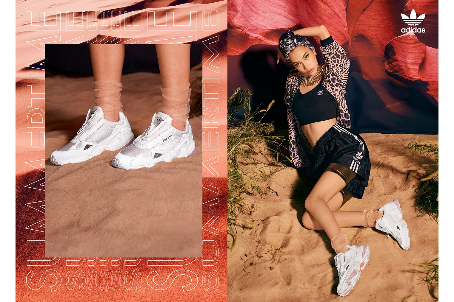 adidas Falcon Zip in Black and White
