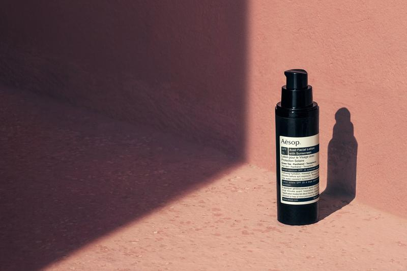 Aesop Avail Facial Lotion with Sunscreen SPF 25 Skincare Beauty Pink Wall Light Shadow
