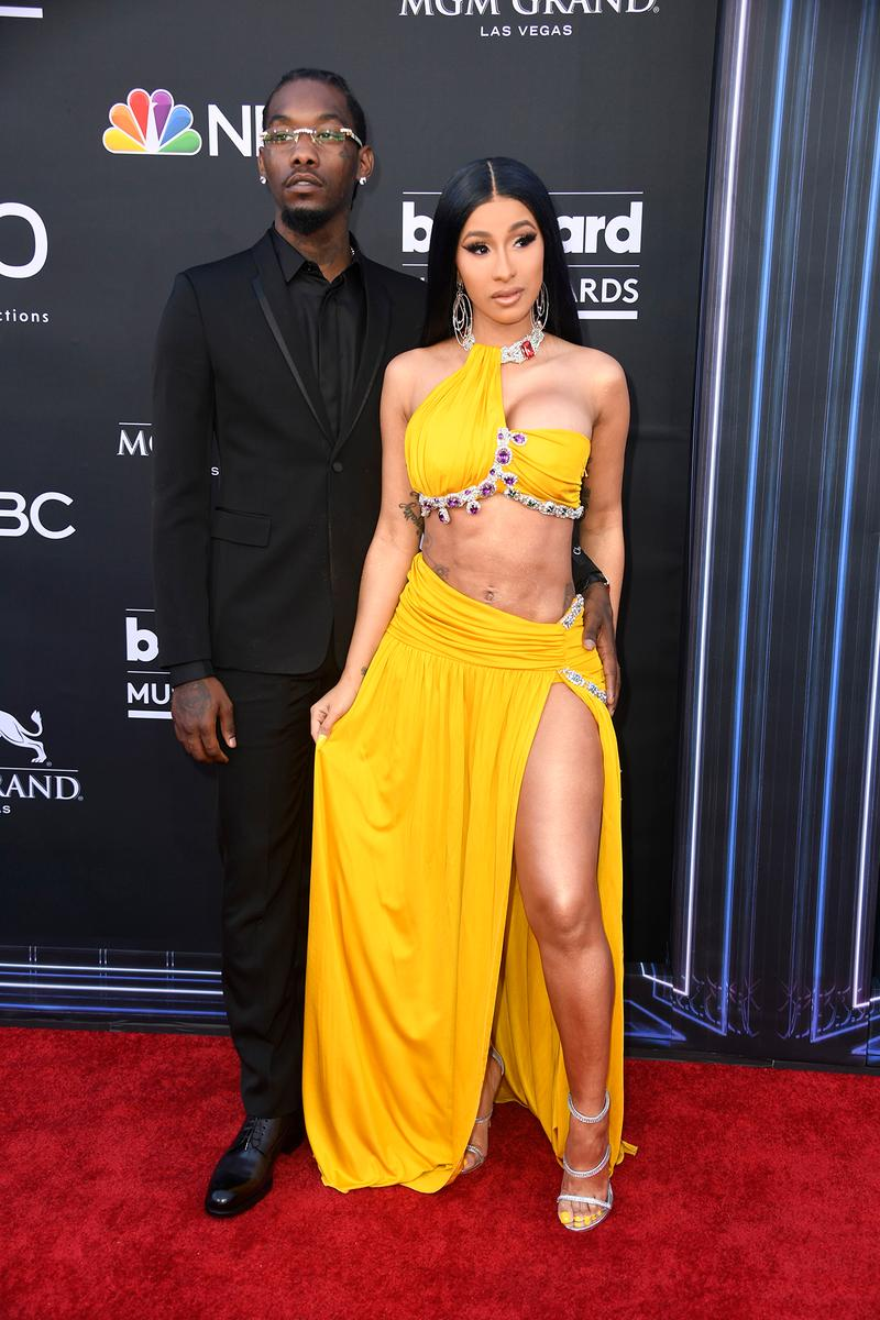 cardi b offset yellow dress billboard music awards 2019 red carpet