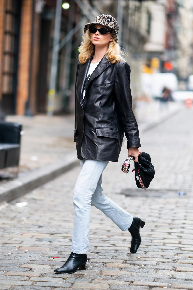 Black Leather Blazer Jacket Model Off-Duty Elsa Hosk Victoria's Secret Angel J Brand Prada Bag Jeans Denim Blue Bucket Hat Sunglasses Boots Street Style