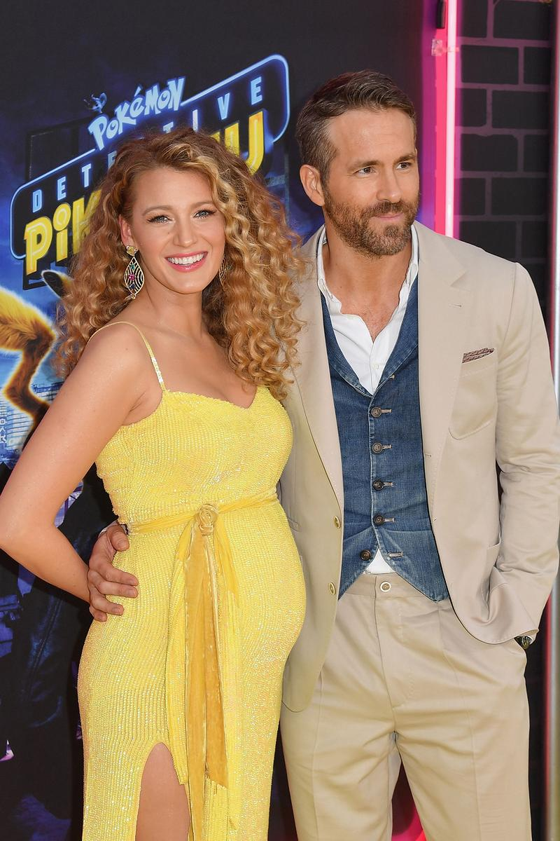 Blake Lively Ryan Reynolds Expect Detective Pikachu Pokemon Premiere Red Carpet Yellow Dress Baby Bump wife husband
