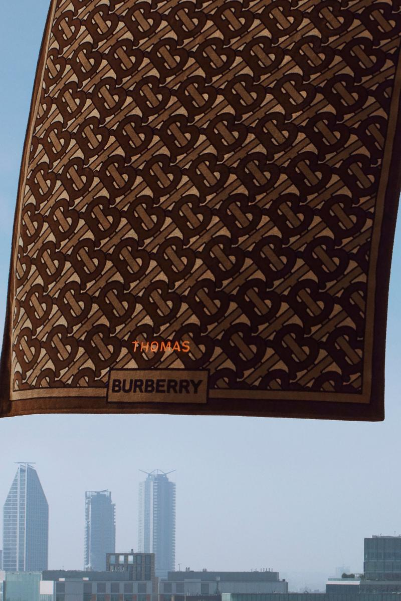 Burberry B Series Monogram Print Towel Brown Orange