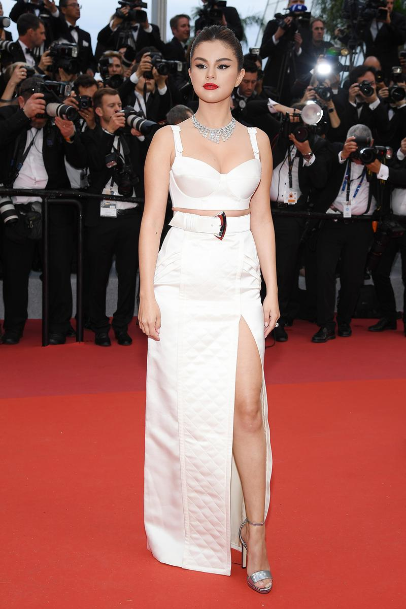 Selena Gomez 72nd annual Cannes Film Festival 2019 Red Carpet Louis Vuitton White Dress Red Lipstick The Dead Don't Die