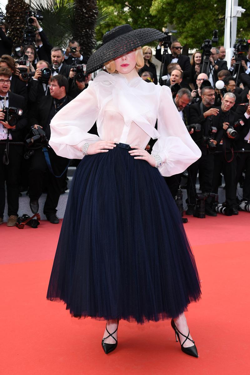 Elle Fanning Cannes Film Festival 2019 Dior Hat Shirt Tulle Skirt Once Upon A Time In Hollywood Red Carpet
