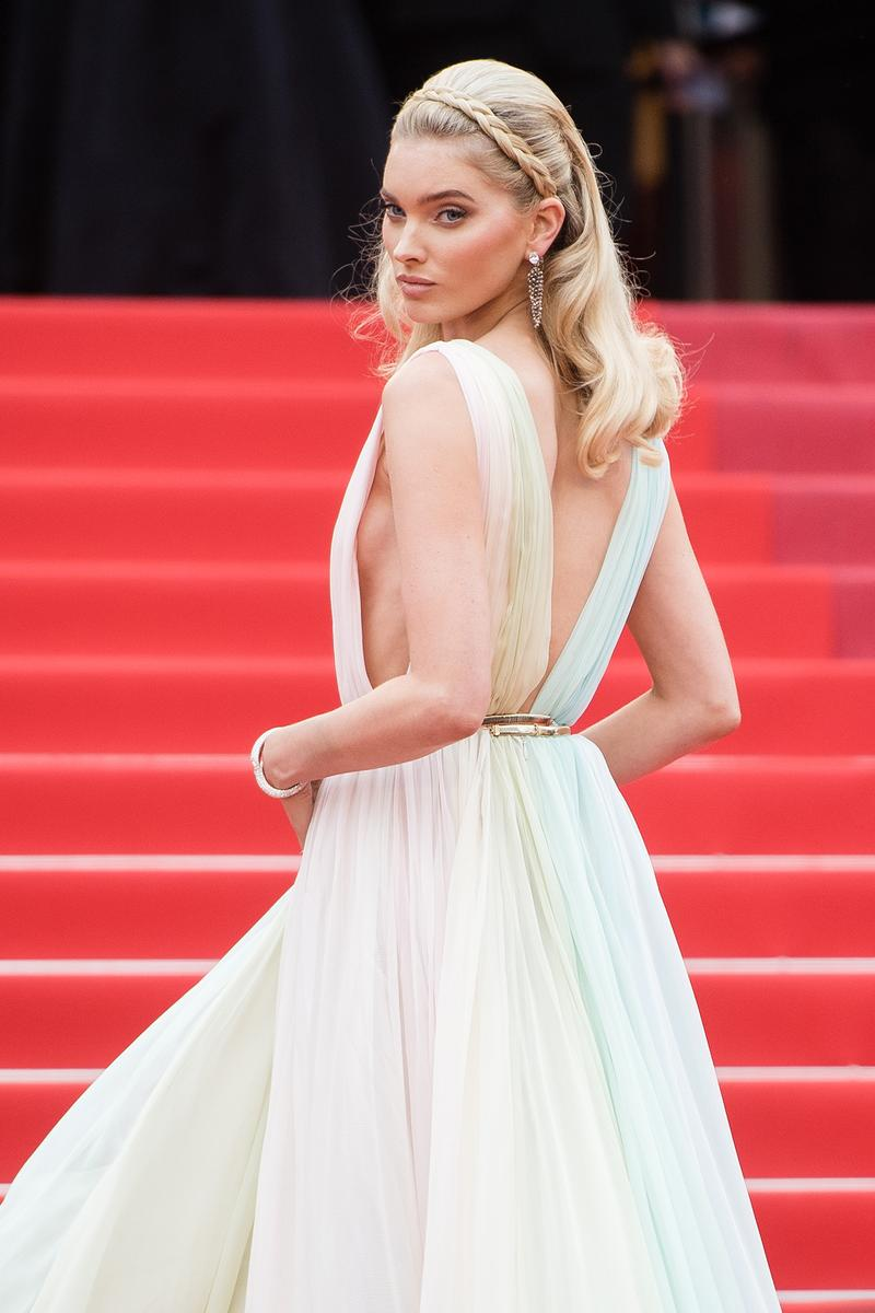 Elsa Hosk A Hidden Life Red Carpet 72nd Cannes Film Festival Dress Pastel Rainbow