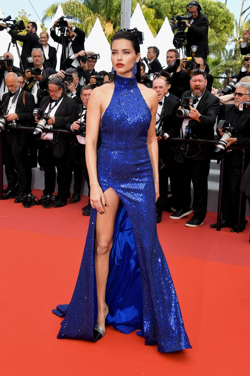 Adriana Lima Oh Mercy Red Carpet 72nd Annual Cannes Film Festival Blue Dress
