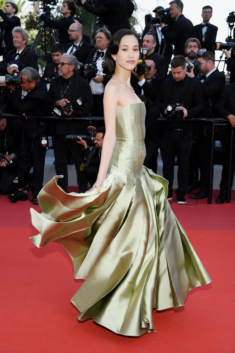 Kiko Mizuhara 72nd Cannes Film Festival Red Carpet Dior Green Dress Gown