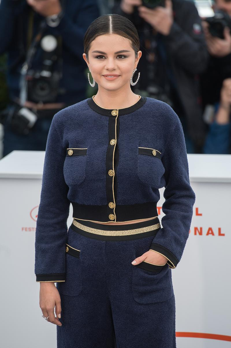 Selena Gomez 72nd Cannes Film Festival Chanel Tweed Suit Two Piece Blue jacket Earrings