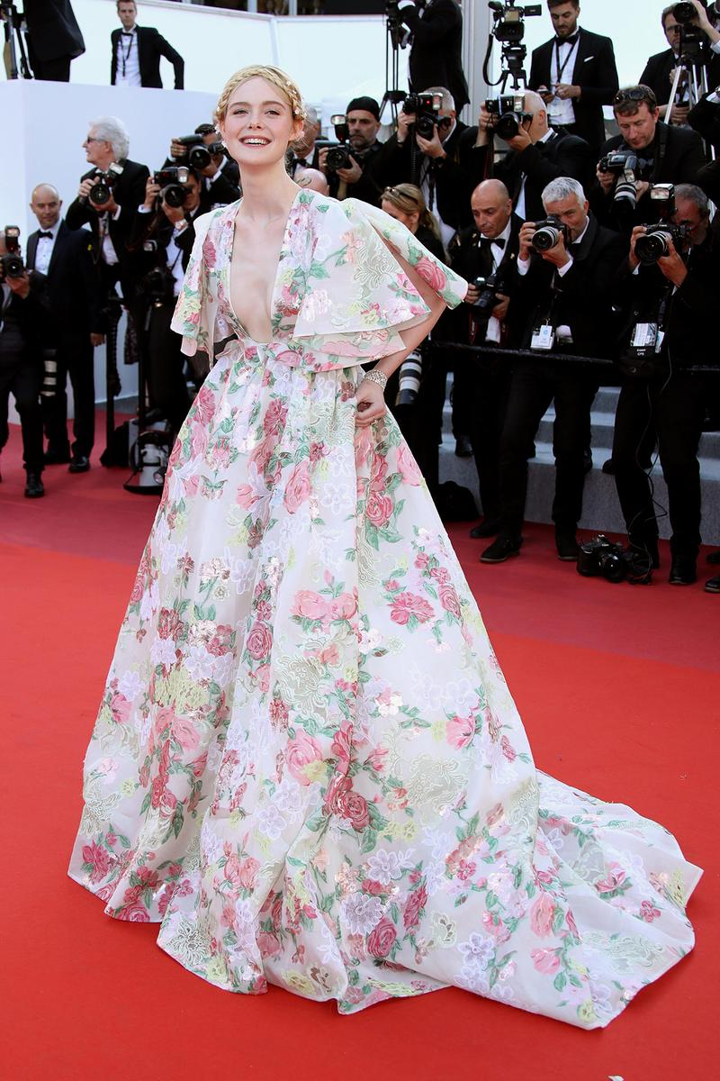Elle Fanning 72nd Cannes Film Festival Red Carpet Les Miserables Valentino Dress Floral Gown