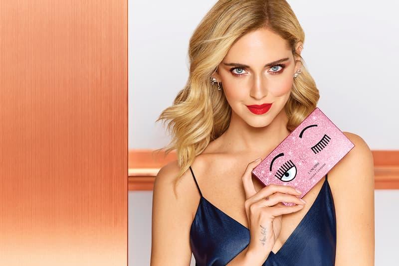 Chiara Ferragni Lancôme Makeup Collaboration 2019 Glittery Pink Mascara Face Palette Packaging Lipsticks Blue Eye Winking Logo Influencer Blogger The Blonde Salad highlighter blush lip gloss