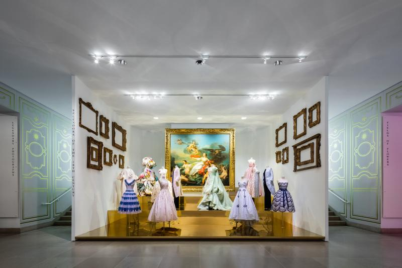 Christian Dior From Paris to the World Exhibit Dresses Blue Pink Yellow