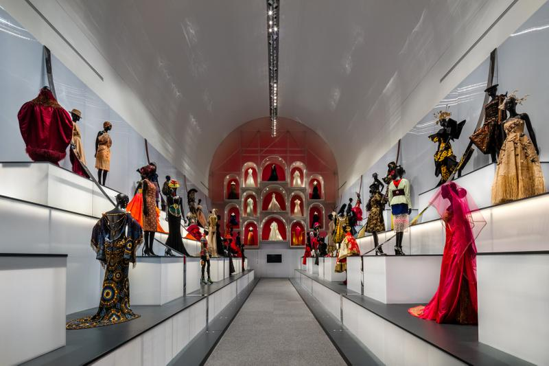 Christian Dior From Paris to the World Exhibit Dresses Gold Red Yellow Black