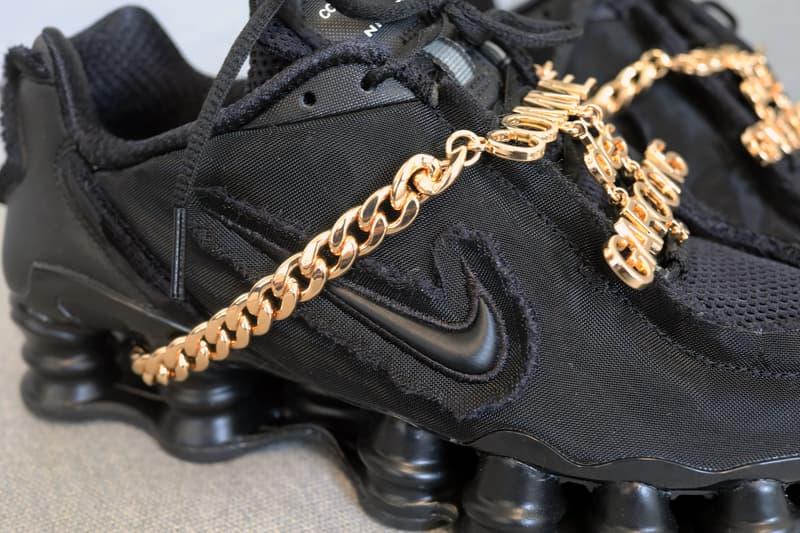 Comme Des Garçons Nike Shox TL Black Closer Look Chain Detail Shots Sneaker Shoe Release
