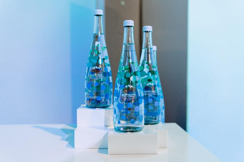 Virgil Abloh x Evian Water Bootle Drip Drop Pop Up New York City Glass