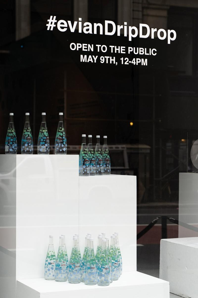 Virgil Abloh x Evian Water Bootle Drip Drop Pop Up New York City