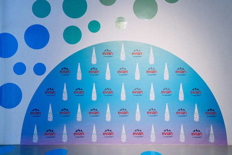 Virgil Abloh x Evian Water Bootle Drip Drop Pop Up New York City Logo