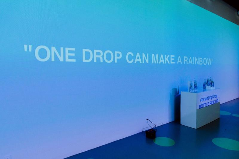 Virgil Abloh x Evian Water Bootle Drip Drop Pop Up New York City Wall Images