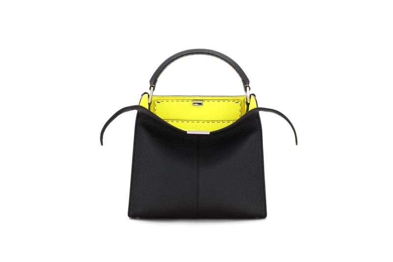 Fendi Roma Amour Capsule Collection Top Handle Bag Black Yellow