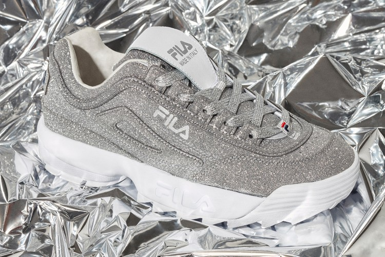 7f94fdcce FILA's Silver Glitter Disruptor 2 Is Basically Made for Instagramming