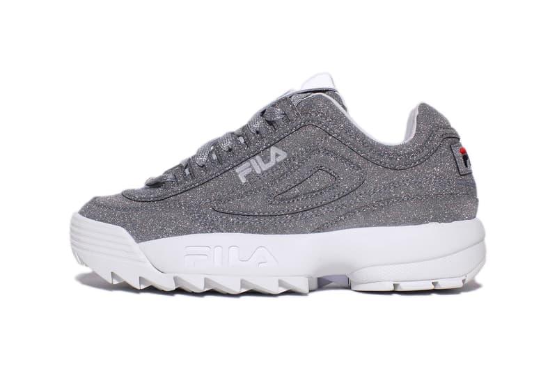 FILA Disruptor 2 Silver Glitter Chunky Sneakers