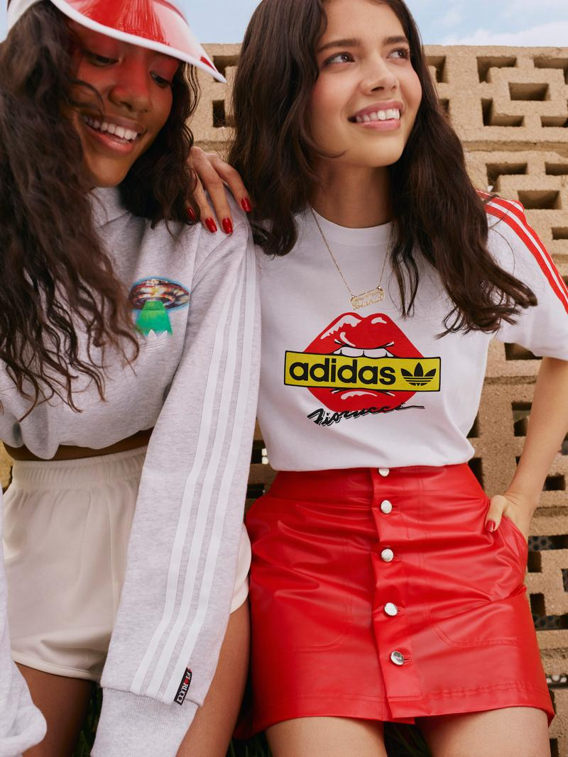 Fiorucci x adidas Originals Collection Release Collaboration Sneakers Falcon Slides Apparel Lookbook