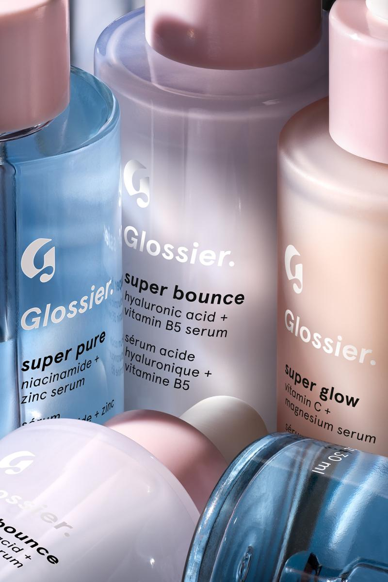 Glossier Supers Serums Super Bounce Pure Glow Bigger Bottles Packaging Beauty Skincare Emily Weiss Dropper Cosmetics Blue Purple Orange Pink