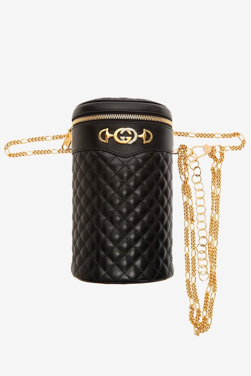 Gucci Black Quilted Leather Bag Gold Hardware GG Monogram Purse Fashion